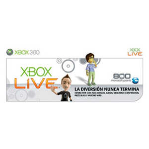 Tarjeta Xbox Live 800 puntos (2010)