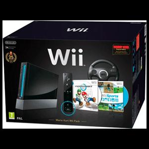 Wii Negra + Mario Kart - Ed.Especial 25 Aniv.