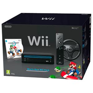 Wii Negra + Mario Kart + Volante