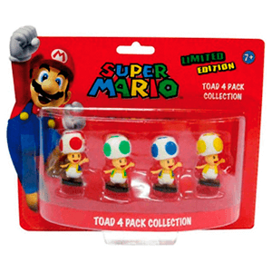 Super Mario Pack 4 Minifiguras Toad Colores