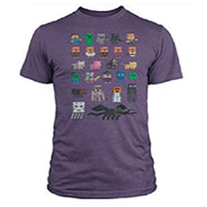 """Camiseta Minecraft """"Sprites"""" Morada Talla L"""