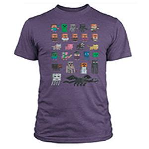"Camiseta Minecraft ""Sprites"" Morada Talla XL"