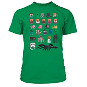 """Camiseta Minecraft """"Sprites"""" Verde Talla XL"""