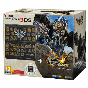 New Nintendo 3DS Negro + Monster Hunter 4 Preinstalado + Cubierta Monster Hunter 4