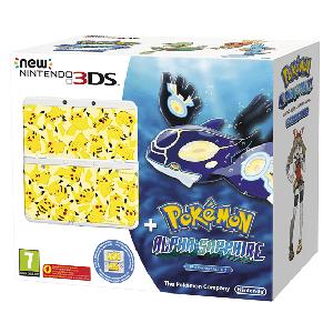 New Nintendo 3DS Blanco + Pokemon Zafiro Preinstalado + Cubierta Pokemon Zafiro