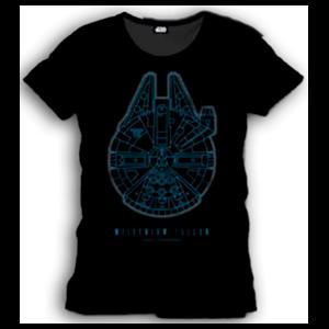 Camiseta Star Wars Negra Halcón Milenario Talla S