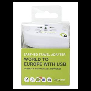 Adaptador Viaje para Europa con USB Q2Power