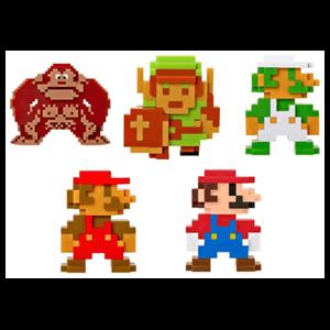 Pack de 5 Figuras 8 bits Nintendo 6cms