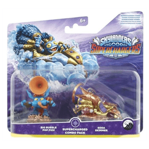 Pack Dual 3 Skylanders Superchargers Driver + Vehiculo Big Bubble Pop Fizz,Soda Skimmer
