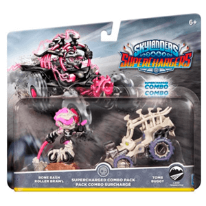 Pack Dual 4 Skylanders Superchargers Driver + Vehiculo Bone Bash Roller Brawl,Tomb Buggy