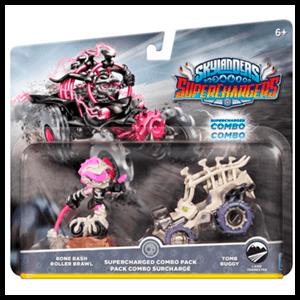 Pack Dual 4 Skylanders Superchargers Driver + Vehiculo Bone Bash Roller Brawl,Tomb Buggy
