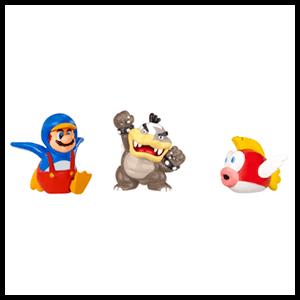 Pack de 3 Figuras 2cms Nintendo: Morton Koopa, Penguin Mario y Cheep Cheep