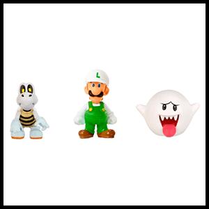Pack de 3 Figuras 2cms Nintendo:  Fire Luigi, Dry Bones y Boo