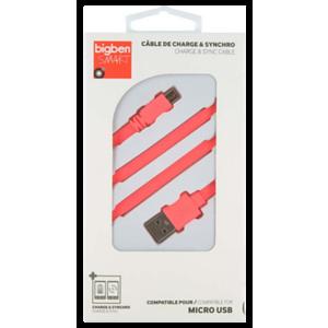 Cable plano de carga + sincro 1m Micro USB Rosa Big Ben