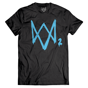 Camiseta Watch Dogs 2 Logo Neon Azul Talla  L