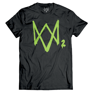 Camiseta Watch Dogs 2 Logo Neon Verde Talla L