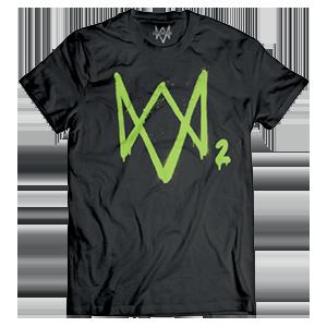Camiseta Watch Dogs 2 Logo Neon Verde Talla L