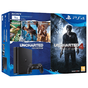 Playstation 4 Slim 1Tb + Uncharted Col. + Uncharted 4