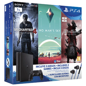 Playstation 4 Slim 1Tb + Uncharted 4 + No Man's Sky + Bloodborne GOTY + Headset