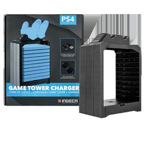 Torre de juegos + Cargador mando PS4 Indeca
