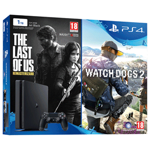 PlayStation 4 Slim 1Tb + The Last of Us + Watch Dogs 2