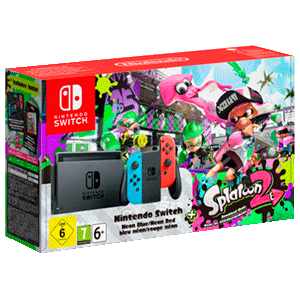 Nintendo Switch Azul Y Rojo Neón + Splatoon 2 Versión Digital