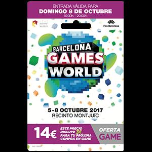 Barcelona Games World 2017. Acceso Domingo 8