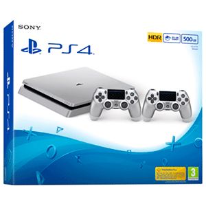 Playstation 4 Slim 500Gb Silver + 2 Dualshock 4 V2