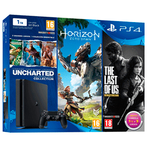 PlayStation 4 Slim 1 Tb + The Last of Us + Uncharted Col. + Horizon