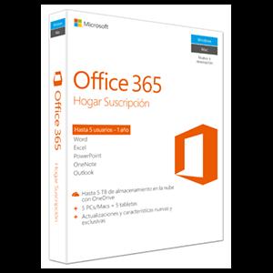 Microsoft Office 365 Hogar - Suscripción 1 año Windows o Mac - 5 Usuarios