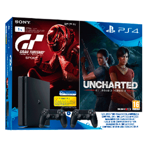 PlayStation 4 Slim 1Tb + Gran Turismo Sport + Uncharted: El Legado Perdido + 2º Dualshock 4 V2