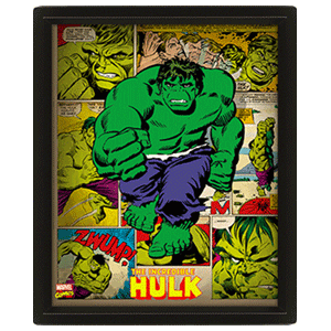 Cuadro 3D Marvel: Hulk Retro
