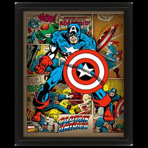 Cuadro 3D Marvel: Capitán América Retro