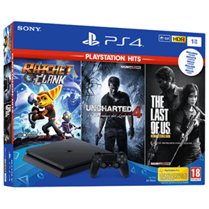 Playstation 4 Slim 1Tb + Ratchet and Clank + The Last of Us + Uncharted 4 Chasis F