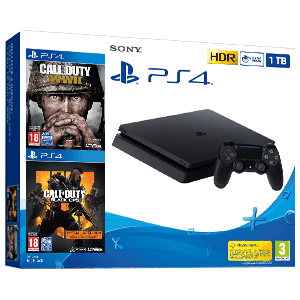 PlayStation 4 Slim 1Tb + COD Black Ops 4 + COD WWII