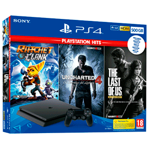 Playstation 4 Slim 500 GB + The Last of Us + Uncharted 4 + Ratchet and Clank