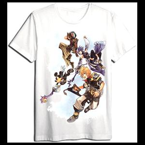 Camiseta Kingdom Hearts Blanca Personajes Talla L