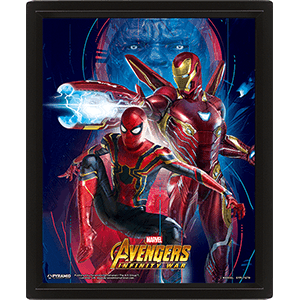 Cuadro 3D Marvel: Iron Man y Spider-Man Infinity War