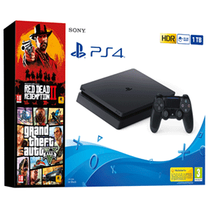 Playstation 4 Slim 1Tb + Red Dead Redemption II + Grand Theft Auto V