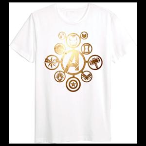 Camiseta Marvel Vengadores Logo Dorado Talla L