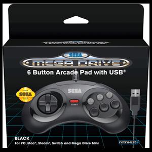 Mando Oficial Mega Drive Mini 6 Botones Retro-Bit Negro
