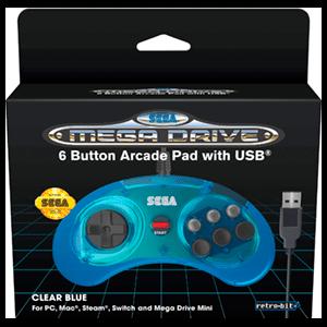 Mando Oficial Mega Drive Mini 6 Botones Retro-Bit Azul