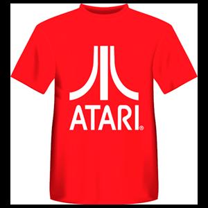 Camiseta Atari Retro Roja: Logo Atari Blanco Talla L