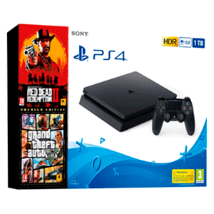 Playstation 4 Slim 1Tb + Red Dead Redemption II + GTA V Premium