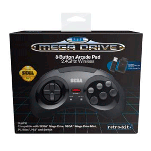 Mando Oficial Mega Drive Mini 8 Botones Arcade Pad 2.4 GHz Wireless