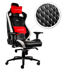 noblechairs EPIC Real Leather Negro-Blanco-Rojo - Silla Gaming