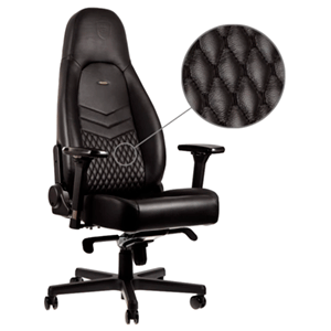 noblechairs ICON Real Leather Negro-Negro - Silla Gaming
