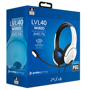 Auriculares PDP LVL40 Blancos PS5-PS4 -Licencia oficial-