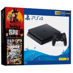 Playstation 4 500Gb + GTA V + Red Dead Redemption II