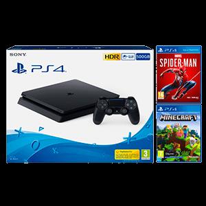 Playstation 4 500Gb + Marvel Spider-Man + Minecraft